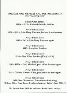 Postmasters of Pilton Street